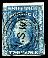 Lot 5626:1856-60 Imperf Small Diadems Recess Wmk Double-Lined Numeral SG #112 2d blue Plate I 3½-margins.