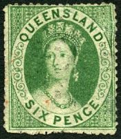 Lot 7563:1860 Small Chalon Wmk Large Star Clean-Cut Perf 14-16 SG #6 6d green, Cat £70, a few small faults.