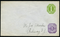 Lot 4075:1875 Additional Pfennig Value HG #B25 5p violet on 1k green, envelope has been addressed but not mailed.