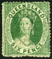 Lot 7487:1860 Small Chalon Wmk Large Star Clean-Cut Perf 14-16 SG #6 6d green, Cat £70, a few small faults.