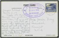 Lot 4666:1950 Kruger Park PPC to USA, 3d with cds, superb double-oval 'PRETORIUSKOP/.../RUSKAMP - REST CAMP' datestamp in violet.