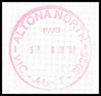 Lot 11670 [2 of 2]:Altona North (2): - 'ALTONA NORTH/PAID/5P 4JU'91/VIC-AUST-3052' WWW #630A in red on long cover.  PO 1/3/1966.
