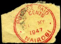 Lot 22265:Nairobi: red double-circle 'POSTAGE PAID/10 CENTS/31MY/1947/NAIROBI' (#PD3 - Proud only records 1939-40 use).