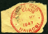 Lot 4267:Nairobi: red double-circle 'POSTAGE PAID/10 CENTS/31MY/1947/NAIROBI' (#PD3 - Proud only records 1939-40 use).