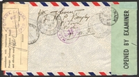 Lot 3701 [2 of 2]:1943 use of KGVI 1½d x2, 4d & 1/- on registered air cover to Canada, 'P.C. 90/OPENED BY EXAMINER/H 10' at left, Canadian Foreign Exchange Control Board label at right.