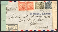 Lot 3701 [1 of 2]:1943 use of KGVI 1½d x2, 4d & 1/- on registered air cover to Canada, 'P.C. 90/OPENED BY EXAMINER/H 10' at left, Canadian Foreign Exchange Control Board label at right.