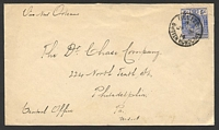 "Lot 19708:1914 use of KGV 5c blue, cancelled with 'BELIZE/B/JY21/14/BRITISH HONDURAS' (B1) on cover to Philadelphia, endorsed ""Via New Orleans"" in TLC."