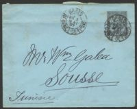 Lot 4502 [1 of 2]:1893 New Value HG #B5 10c black on blue, cancelled with 'GABES/6E|3/MAI/97/REGENCE-DE-TUNIS' (B1) & 'SOUSSE/...' arrival backstamp, minor bend.