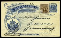 Lot 3699 [1 of 2]:1896 HG #36 1c blue Arms on yellowish, uprated with 5c, philatelic use to Germany, cancelled with 1896 Santa Ana duplex, 'TRANSITO/26/FEB/96/PANAMA' transit on face.