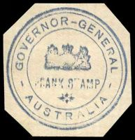 Lot 10253:Governor-General: triple-circle hand-stamp in blue on piece, uncancelled.