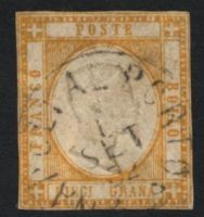 Lot 3824:1861 SG #17 10gr dull orange, Cat £300, close even margins, 'NAPOLIAL PORTO/1/SET/62' (B2), a couple of very minor thins.