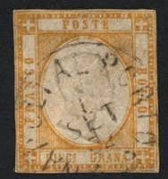 Lot 23978:1861 SG #17 10gr dull orange, Cat £300, close even margins, 'NAPOLIAL PORTO/1/SET/62' (B2), a couple of very minor thins.