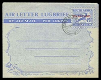 Lot 25332:1951-52 Bi-Lingual Springbok HG #FG12 6d 'SOUTH...' first, CTO with double-circle 'MBABANE/21VIIIA52' (A1-).