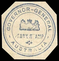 Lot 10296:Governor-General: triple-circle hand-stamp in blue on piece, uncancelled.