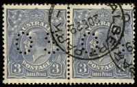 Lot 2598:3d Blue Die Ia - type A perf 'OS' pair [4L28-9] with Retouch to crown top & Coloured flaws behind emu's neck, small tear in 4L28.