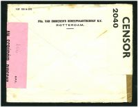 Lot 23255 [2 of 2]:1940 stampless cover cancelled with Van Ommeren's meter to Cork, Ireland, plain brown tape sealing cover at left (Dutch Censor?), 'P.C.66/OPENED BY/CENSOR/2040' white label at left (English censor) and 'S.P.1/AN SCRÚDÓIR D'OSCAIL/OPENED BY CENSOR' pink label at right (Irish Censor).