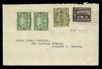 Lot 4762:1932 use of Guatemala 1929 ½c x2 & 1930 2c on 15c plus 1c postal tax with New Orleans machine cancel, violet straight-line 'PAQUEB[OT]