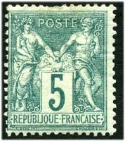 Lot 3567:1876-81 Peace & Commerce SG #215 5c green Type I, hinge remainder and crease.