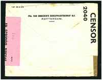 Lot 22316 [2 of 2]:1940 stampless cover cancelled with Van Ommeren's meter to Cork, Ireland, plain brown tape sealing cover at left (Dutch Censor?), 'P.C.66/OPENED BY/CENSOR/2040' white label at left (English censor) and 'S.P.1/AN SCRÚDÓIR D'OSCAIL/OPENED BY CENSOR' pink label at right (Irish Censor).