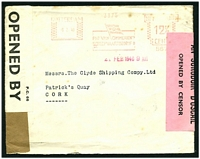 Lot 22316 [1 of 2]:1940 stampless cover cancelled with Van Ommeren's meter to Cork, Ireland, plain brown tape sealing cover at left (Dutch Censor?), 'P.C.66/OPENED BY/CENSOR/2040' white label at left (English censor) and 'S.P.1/AN SCRÚDÓIR D'OSCAIL/OPENED BY CENSOR' pink label at right (Irish Censor).