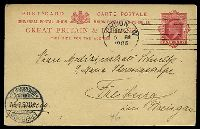 Lot 20725 [1 of 2]:1902 KEVII 4 Line Heading HG #30 1d, (Huggins & Baker #CP64) to Germany in 1905, message in shorthand (?).