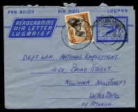 Lot 4663:1952 Springbok HG #FG16 6d 'SOUTH...'  (+ 6d Lion), commercial use to USA.