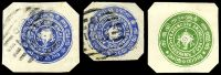 Lot 21736:1889 Conch in 4 Circles 1ch ultramarine Deschl Type I x2, both used and 4ch green Deschl Type III, unused, all cut-outs.