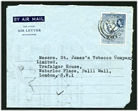 Lot 3074:1957 commercial use of 50c Map on formular aerogramme with Aden Camp cds, printed sender's address of AE Rahamtulla, to GB .