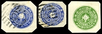 Lot 20887:1889 Conch in 4 Circles 1ch ultramarine Deschl Type I x2, both used and 4ch green Deschl Type III, unused, all cut-outs.
