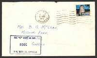 "Lot 4103:1972 commercial cover with boxed 'OC ""C"" COY 10 BR/PO BOX 22, GWELO' handstamp, 2½c with Wankie machine cancel."