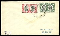 Lot 28419:1947 use of ½d & 1d Royal Visit, cancelled with oval 'ROYAL TOUR/7APR47/SOUTHERN R