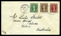 Lot 18508:1937-38 Definitives 1c green, 2c brown & 3c carmine on plain cover to Australia