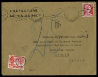 Lot 22259:1959 use of 25c scarlet France on under-paid cover to Switzerland, Swiss 25c Landscape use as PDue stamp.