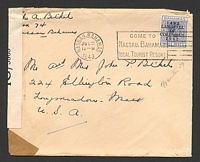 Lot 3248:1943 use of 3d Landfall, on cover to USA, 'P.C. 90/OPENED BY EXAMINER/IG/3865' tape at left.