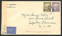 "Lot 3700:1942 use of 6d & 1/- olive-green, on air cover to USA, 'P.C. 90/OPENED BY EXAMINER/H/""30""' tape at left."