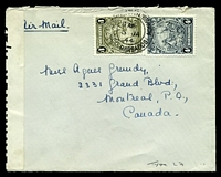 Lot 3143:1944 use of 4d P13½x13, & 1/-, on air cover to Canada, 'P.C. 90/OPENED BY/EXAMINER H/29' tape at left.