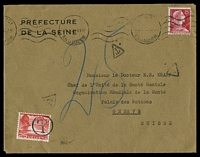 Lot 3963:1959 use of 25c scarlet France on under-paid cover to Switzerland, Swiss 25c Landscape use as PDue stamp.