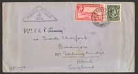 Lot 3536:1940 use of ½d & 1½d carmine P14 (damaged) on cover to England, triangular 'PASSED CENSOR/4/GIB.' on face.