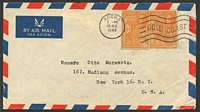 Lot 3791:1949: use of 6d aerogramme cut-outs x2 on air letter to USA.