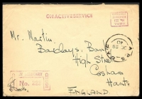 Lot 4271:1940 stampless OAS cover to England, cancelled with double-circle 'APS EAF/DE28/40' (B1), boxed magenta 'O.H.M.S./No. 223/MILITARY/FRANKED' (A1) handstamp in TRC, boxed magenta 'PASSED B