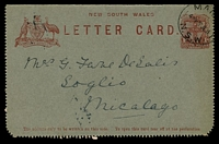 Lot 704:1911 Text on Back 1d Arms HG A9, cancelled with 'MAN[LY]