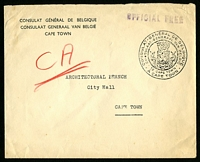 Lot 4580:use of stampless cover locally addressed to Cape Town, straight-line violet 'OFFICIAL FREE' (B1) handstamp and Belgian Consulate handstamp both in TRC.