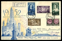 Lot 24601 [1 of 2]:1952 van Riebeeck Tercentenary set on registered illustrated FDC, cancelled with double-circle 'VAN RIEBEECK/14IIIA52' (A1), to Montreal, Canada and then returned as left address.