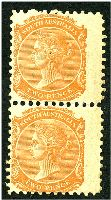 Lot 1289:1876-1904 DLR Wmk Crown/SA (Close) Perf 10 SG #168 2d orange-red vert pair, Cat £22, very light toning on right edge.