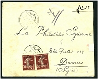 Lot 4206 [1 of 2]:1924 use of '1 PIASTRE' on 20c chocolate Sower x2, cancelled with poor bi-lingual Lattique of 9-5-24 on cover to Damas.