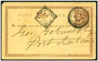 Lot 24954:Port Antonio: squared-circle 'PORT ANTONIO/DE21/97/JAMAICA' arrival on ½d red-brown Postal Card from Kingston.