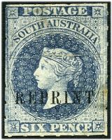 Lot 8143:1884-89 Reprints on Handmade Paper Wmk Crown/SA (Wide) 6d slate-blue rouletted, SG #17, creased.