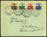 Lot 22305:1915 use of 'Belgien' 3c, 5c, 10c & 25c (Mi #1-4), cancelled with 'KAIS.D.FELDPOST/STATION/11.4.15.9-10V/Nr 45 d' (A1), to Germany, surname partly rubbed out leaving hole in face.