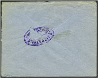 Lot 4462 [2 of 2]:1937 use of 10c Mariana Pineda plus Alicante 5c local on cover to London, violet triple-oval 'COMUNICACIONES/CONTROL OFICIAL/VALENCIA' (A1+) on face, damaged flap.
