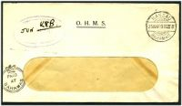 Lot 17807:1941 use of stampless OHMS window cover, cancelled with 'NASSAU/23JUN412 9AM/BAHAMAS' (B1), '[crown]/PAID/AT/BAHAMAS' (A2) in BLC, blue oval 'TELECOMMUNICATIONS DEPT.